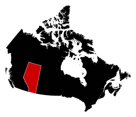 alberta: Map of Canada in black, Alberta is highlighted in red. Illustration
