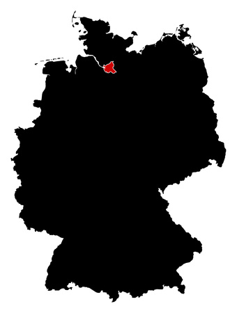 hamburg: Map of Germany in black, Hamburg is highlighted in red.