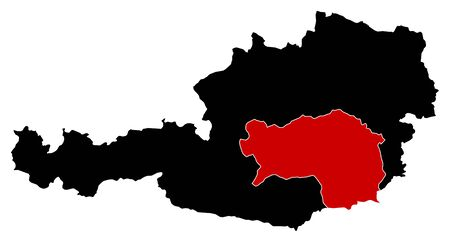 Map of Austria in black, Styria is highlighted in red. Illustration