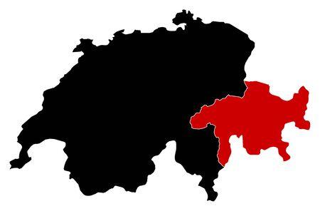 swizerland: Map of Swizerland in black, Graub?nden is highlighted in red.