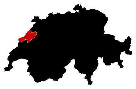 swizerland: Map of Swizerland in black, Neuch?tel is highlighted in red. Illustration