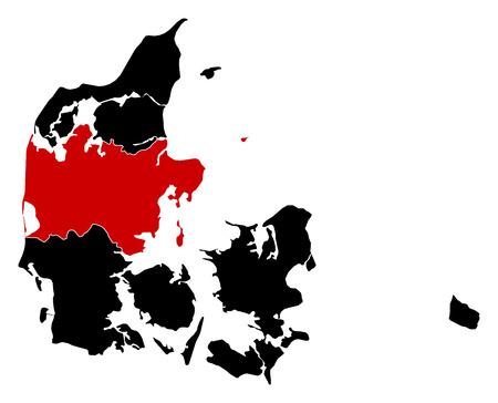 danmark: Map of Danmark in black, Central Denmark is highlighted in red.