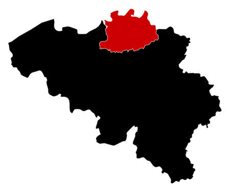 highlighted: Map of Belgium in black, Antwerp is highlighted in red.