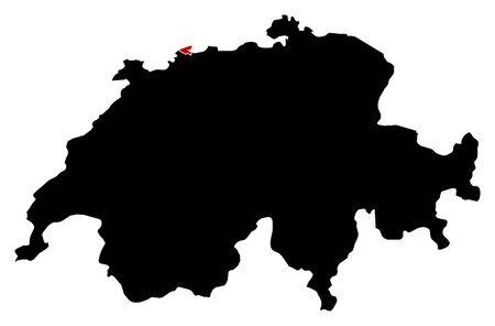 schweiz: Map of Swizerland in black, Basel-Stadt is highlighted in red. Illustration
