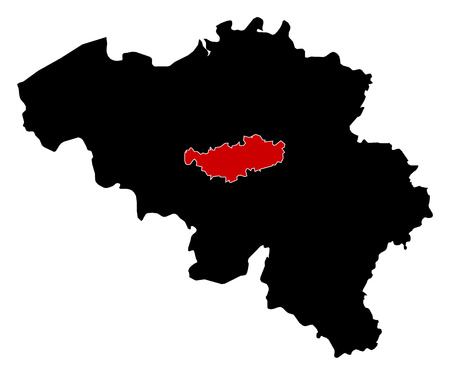 walloon: Map of Belgium in black, Walloon Brabant is highlighted in red.
