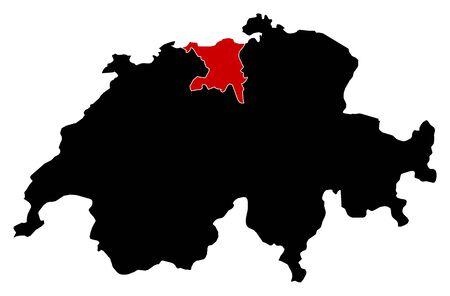 swizerland: Map of Swizerland in black, Aargau is highlighted in red.