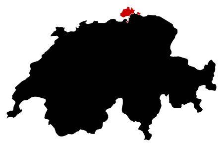 Map of Swizerland in black, Schaffhausen is highlighted in red.