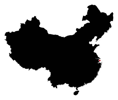 prc: Map of China in black, Shanghai is highlighted in red.
