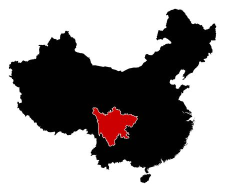 Map of China in black, Sichuan is highlighted in red.