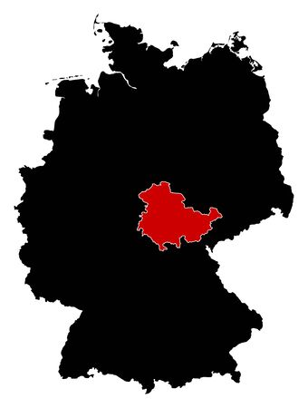 federal republic of germany: Map of Germany in black, Thuringia is highlighted in red. Illustration