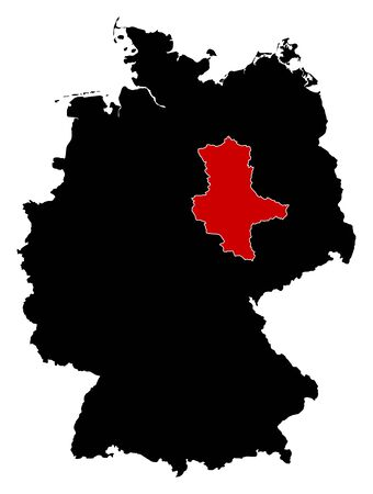 federal republic of germany: Map of Germany in black, Saxony-Anhalt is highlighted in red.