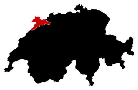 schweiz: Map of Swizerland in black, Jura is highlighted in red.