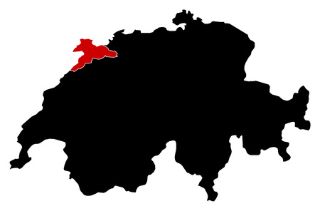 Map of Swizerland in black, Jura is highlighted in red.