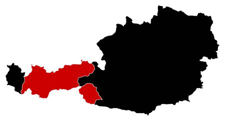 tirol: Map of Austria in black, Tyrol is highlighted in red.