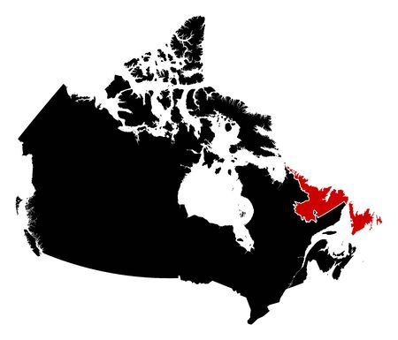 newfoundland: Map of Canada in black, Newfoundland and Labrador is highlighted in red.