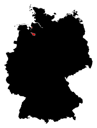 bremen: Map of Germany in black, Bremen is highlighted in red.