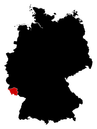 federal republic of germany: Map of Germany in black, Saarland is highlighted in red. Illustration