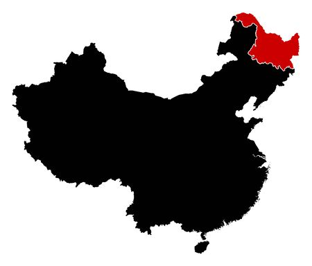 prc: Map of China in black, Heilongjiang is highlighted in red.