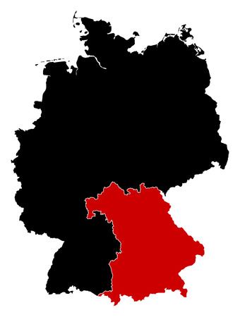 federal republic of germany: Map of Germany in black, Bavaria is highlighted in red. Illustration