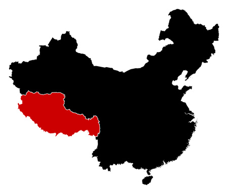 tibet: Map of China in black, Tibet is highlighted in red.