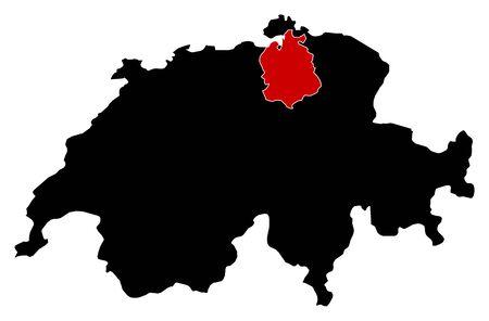 schweiz: Map of Swizerland in black, Zurich is highlighted in red.