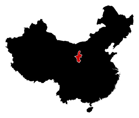Map of China in black, Ningxia is highlighted in red.