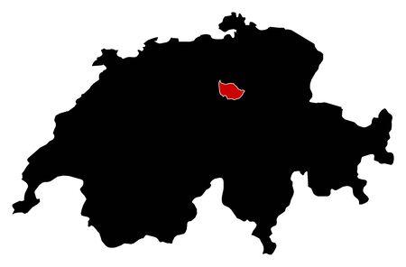 schweiz: Map of Swizerland in black, Zug is highlighted in red. Illustration