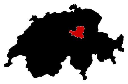 schweiz: Map of Swizerland in black, Schwyz is highlighted in red.