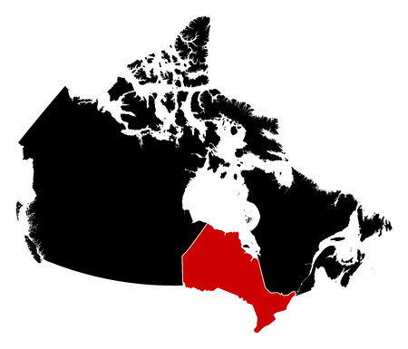 ontario: Map of Canada in black, Ontario is highlighted in red.