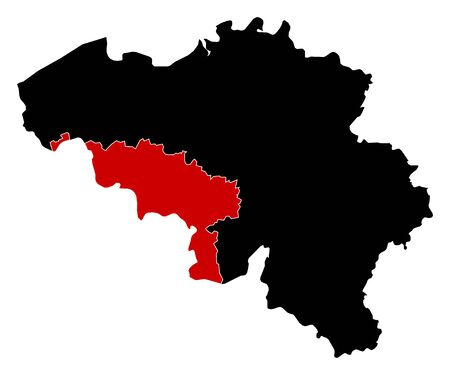 wallonie: Map of Belgium in black, Hainaut is highlighted in red.