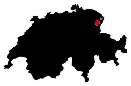 schweiz: Map of Swizerland in black, Appenzell Innerrhoden is highlighted in red.