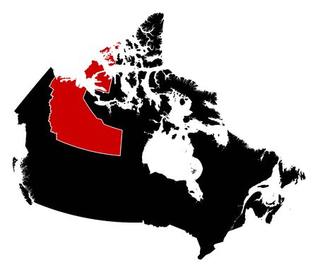 territories: Map of Canada in black, Northwest Territories is highlighted in red. Illustration