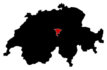 highlighted: Map of Swizerland in black, Nidwalden is highlighted in red.