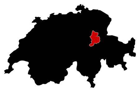 schweiz: Map of Swizerland in black, Glarus is highlighted in red.
