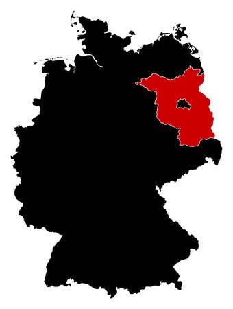 federal republic of germany: Map of Germany in black, Brandenburg is highlighted in red.