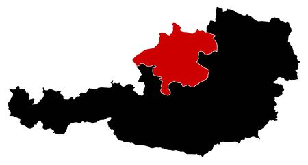Map of Austria in black, Upper Austria is highlighted in red.