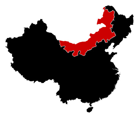 prc: Map of China in black, Inner Mongolia is highlighted in red.