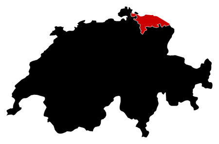 swizerland: Map of Swizerland in black, Thurgau is highlighted in red.