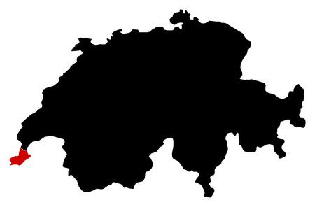 schweiz: Map of Swizerland in black, Geneva is highlighted in red.