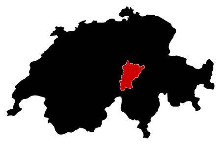 schweiz: Map of Swizerland in black, Uri is highlighted in red.