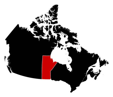 manitoba: Map of Canada in black, Manitoba is highlighted in red.