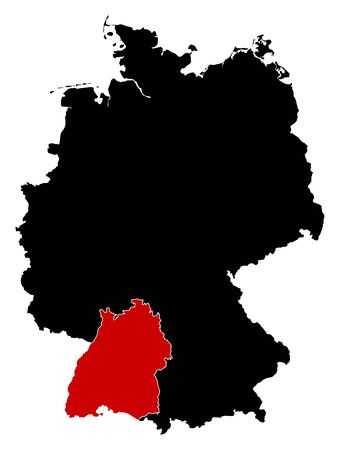 Map of Germany in black, Baden-W?rttemberg is highlighted in red.