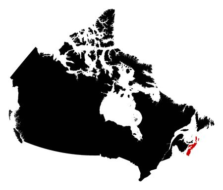 nova: Map of Canada in black, Nova Scotia is highlighted in red.