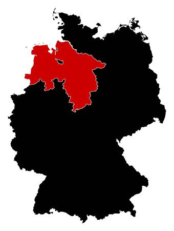 federal republic of germany: Map of Germany in black, Lower Saxony is highlighted in red. Illustration