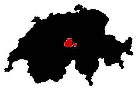 swizerland: Map of Swizerland in black, Obwalden is highlighted in red.