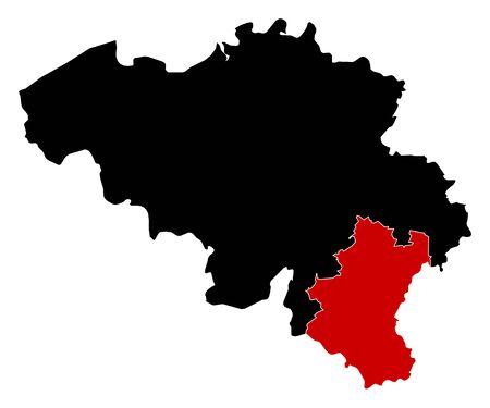 wallonie: Map of Belgium in black, Luxembourg is highlighted in red.