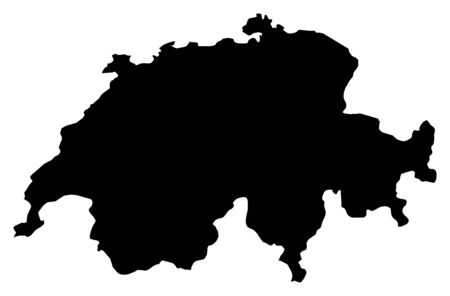 swizerland: Map of Swizerland in black. Illustration