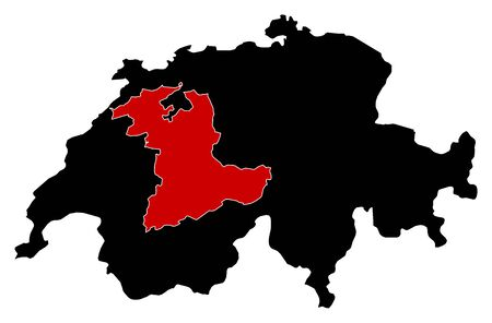swizerland: Map of Swizerland in black, Bern is highlighted in red.