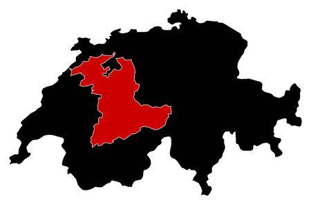 swizerland: Map of Swizerland in black, Bern is highlighted in red.