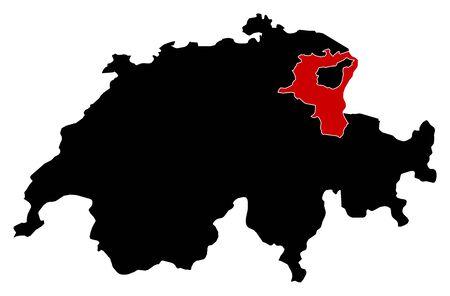 schweiz: Map of Swizerland in black, St. Gallen is highlighted in red.